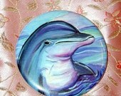 Summer Fun Dolphin Pocket Mirror with pouch