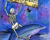 Halloween Skeleton Dolphin Postcard Print