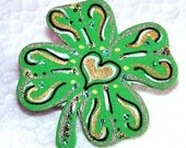 Good Luck Lucky Shamrock Clover pin Saint Patricks Day Fun