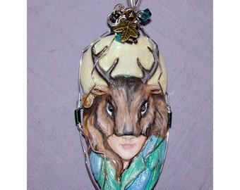 Wild Hunt Deer Stag Spirit Pendant With Glow in the Dark Full Moon