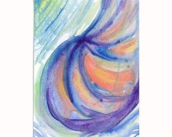 Abstract Shell Orginal Painting Watercolor ATC Artist Trading Card