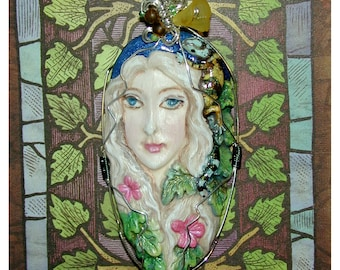 Goddess of the Forest Gecko Pendant Handpainted OOAK