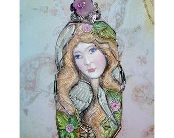 Pretty Angel Pendant Hand made OOAK One of a Kind