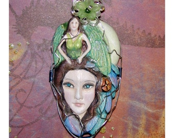 Wonderful Green Fairy Angel Pendant OOAK Hand Painted