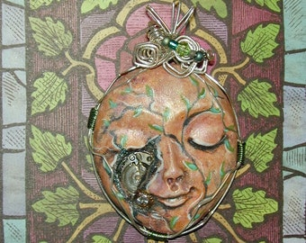 Mixed Media Watch Part and Handpainted vines Face Pendant