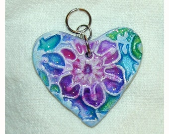 SALE Heart Flower Double sided handpainted clay pendant