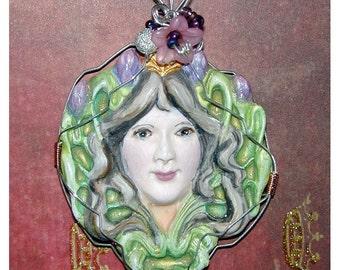 Art Nouveau Lady and flower Handmade Pendant OOAK