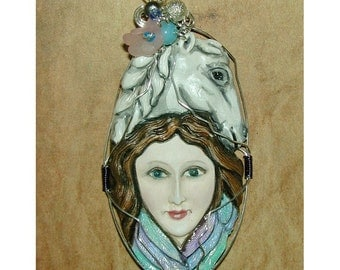 Lady with Horse Goddess Pendant OOAK