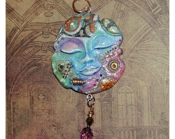 Rainbow Steampunk sleeping Face Pendant Cool and One of a Kind