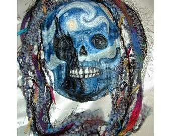 Starry Night Vincent van Gogh Inspired Day of the Dead Halloween Skull Mask