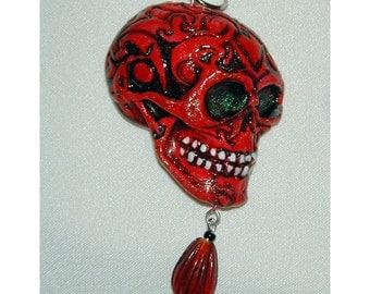 Red Skull Day Of The Dead  El Dia de los Muertos OOAK Pendant