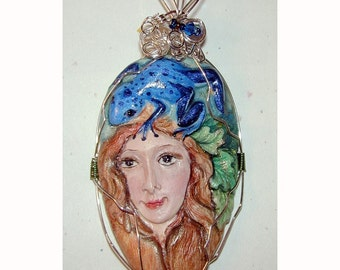 Goddess of the Forest Lady and Frog Pendant
