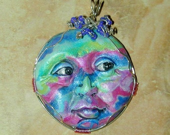 Rainbow DayDream One of a Kind  Face Handpainted Pendant