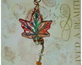 Autumn Maple Leaf Clay Hand Painted Wire Wrapped Pendant