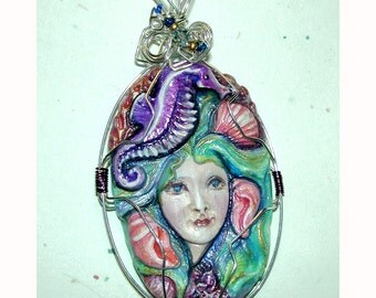 Siren of the Sea SEAHORSE Mermaid Handpainted Clay Pendant Sea Horse