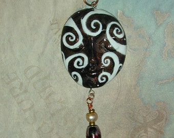 Coffee and Cream Swirl Face Pendant Pretty and One of a Kind