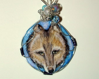 Wolf Head Handmade and Hand Painted Pendant