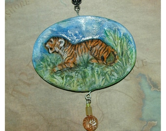 Bengal Tiger In Profile  Handmade Pendant