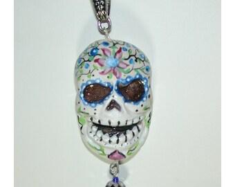 Pretty as a Picture Happy Skull Halloween El Dia de los Muertos OOAK Pendant