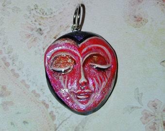 SALE Handpainted Heart Valentine Face Pendant  OOAK