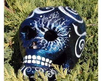 Sparkly Halloween Day of the Dead Paper Mache Skull with Duochrome Paint