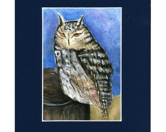 Stunning Great Horned Owl Original Watercolor Painting Matted and Ready to Frame