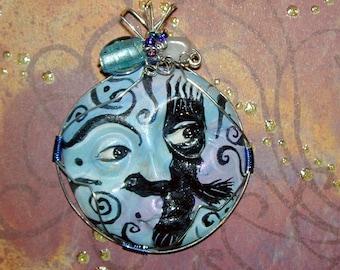 Crow handpainted face pendant with swirls Raven bird  Corvus