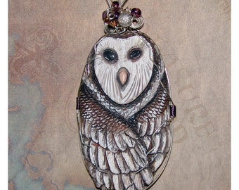 Dreamy Night Barn Owl Tyto alba Handmade Pendant