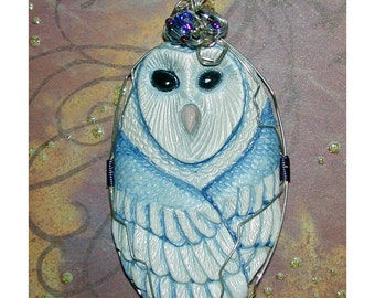 Lovely Blue Night Barn Owl Tyto alba Handmade Pendant