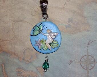 Tiny Handmade Fairy and Butterfly Pendant