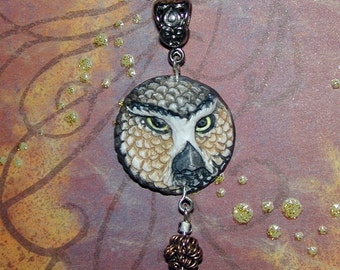Sweet Great Horned Owl Face Handmade Pendant