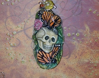Elegant Skull and Monarch Butterflies Halloween El Dia de los Muertos OOAK Pendant