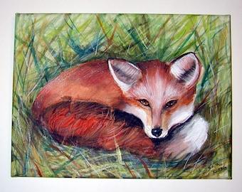 Foxy Lady Vixen Fox Acrylic Painting on Canvas