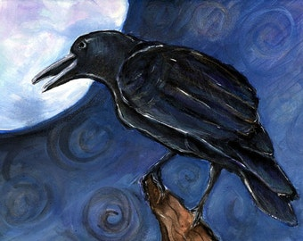 Nevermore Raven Crow Full Moon Orginal Painting Acrylic on Canvas