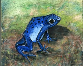 SALE Don't Kiss this Frog Poison Arrow Frog Original Acrylic on Canvas Painting
