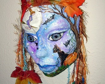 Halloween  Witch Autumn Handcast Paper Mask Wall Hanging