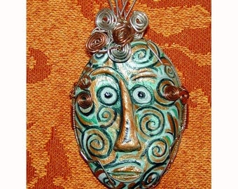 SALE Tribal Spiral Green and Copper Face UNIQUE Easter Island