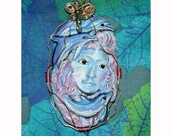 SALE MERMAID SEA GODDESS Dolphin Wire Wrapped Pendant Handpainted by Samantha Kocsis