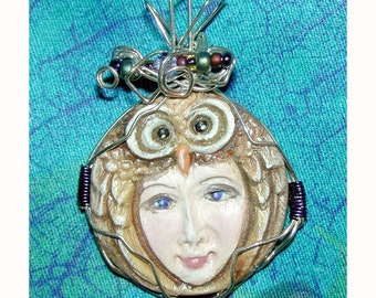 Owl Goddess Hand painted Pendant