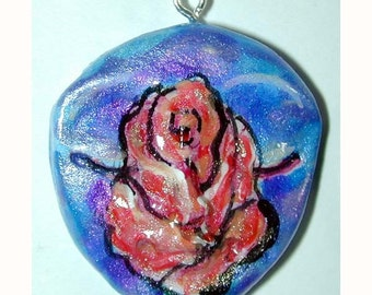 SALE Red Rose and Blue Skies Face Pendant