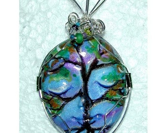 SALE Spring Tree Handpainted Face Clay Pendant Funky