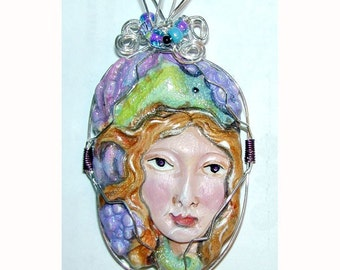Sea Horse Seahorse Goddes of the Sea Handpainted Clay Pendant