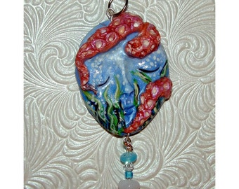 Yikes there is an Octopus on my Head Handmade Pendant