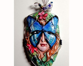 Blue Morpho Butterfly Goddess Lady Pendant