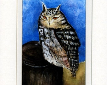 Signed numbered Speckled Owl Watercolor signed and numbered Print