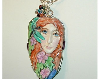 Dragonfly goddess hand painted pendant cool and different