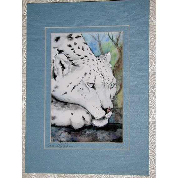 Snow Leopard Cat Print from Original Watercolor Painting