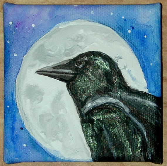 Crow Raven In front of Full Moon Mini Canvas Original Canvas Mini Painting