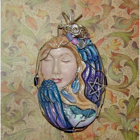 Celestial Lady with moon and star Nighttime Goddess  Pendant