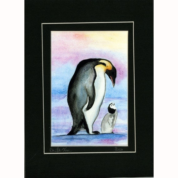 Mother and baby Penguin Love Print